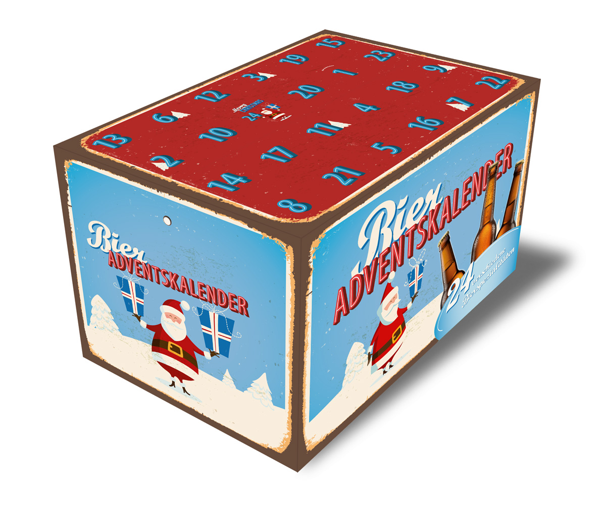 Bier-Adventskalender Retro blau